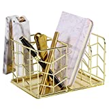 Nugorise Desk Supplies Organizer, 4 Compartments - 2 Slot Pen Holder and Letter Sorter, Multifunctional Wire Stationery Storage Caddy, Gold