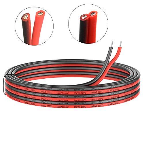 0.82mm² 18 AWG Silikon Elektrischer Draht Kabel anschließen 10 Meter [5 Meter schwarz und 5 Meter rot] Weich und flexibel aus verzinntem Kupferdraht Hohe Temperaturbeständigkeit 200 Celsius 600V