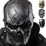 Outgeek Airsoft Mask Scary Skull Outdoor Full Face Mask Mesh Eye Protection Mask