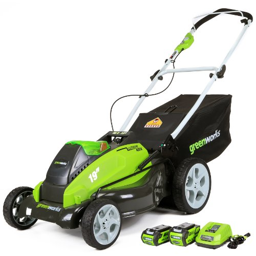 Image of the Greenworks 19-Inch 40V Cordless Lawn Mower, 4.0 AH & 2.0 AH Batteries Included 25223
