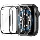 AsBellt Apple Watch ケース 44mm フィルム Apple Watch Series 6 / SE/Series 5 / Series 4 44mm ケース,PC強化ガラスフィルム 液晶全面保護カバーApple Watch 超薄型フィルム 3D全面保護 ガラスカバー 傷防止 耐衝撃PCケース (2個入り)