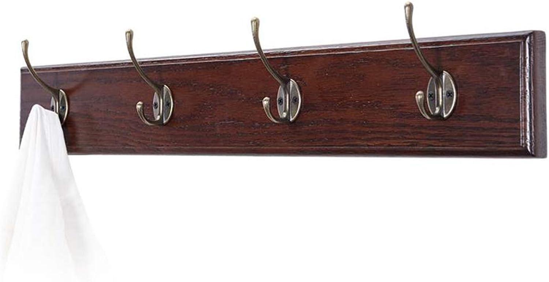 Coat Rack, Wooden Wall Mounted Industrial Hooks Solid Oak Wood Vintage Clothes Rail Hanging Storage Organiser (64cm 4 Hooks)