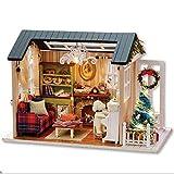 Bricolaje Kit de casa de muñecas en miniatura de Navidad, Cabina realista Mini 3D Casa de madera Habitaciones Artesanía con muebles Luces LED Día de los niños Regalo de cumpleaños Decoración del hogar