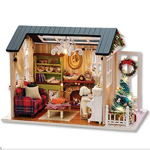 Smandy DIY Weihnachten Miniatur Dollhouse Kit Realistische Kabine Mini 3D Holzhaus Zimmer Handwerk mit Möbel LED leuchten Kindertag Geburtstag Geschenk Dekoration