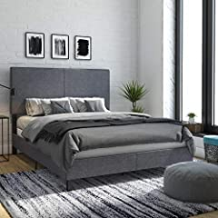 Chic upholstered bed available in grey linen or Black faux Leather It features a headboard for added comfort and back support Sturdy wood and metal frame construction with center legs for extra support Requires foundation Assembles quickly and ships ...