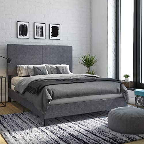 DHP Janford Upholstered Bed with Chic Design | Queen | Grey...