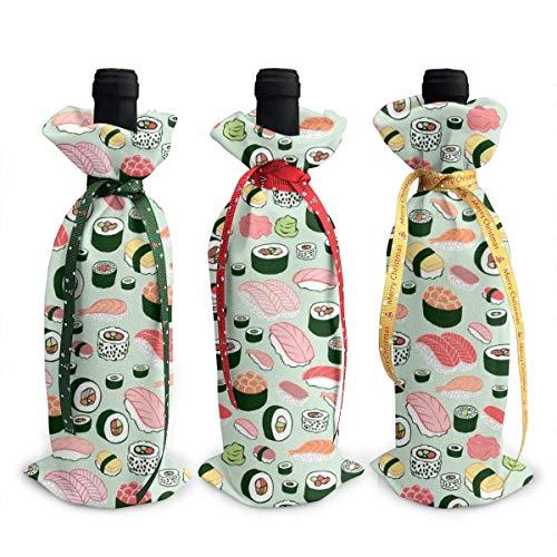 chengnan 3 fundas para botellas de vino de Navidad, bolsas de regalo para botellas de vino de sushi