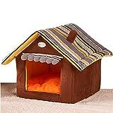 Casa de perro suave de productos para animales de cama del perro del refugio casa del animal doméstico del gato del perrito lavable (M, Marrón)