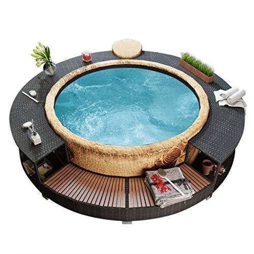INLIFE Spa Surround Poly Rattan Black Garden Outdoor Patio Massage Hot Tub for Indoor Outdoor