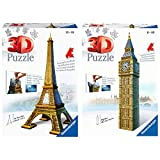 Ravensburger Puzzle 3D, diseño Torre Eiffel (12556 2) + Big Ben 3D Puzzle, 216Pc, Color Marrón, Amarillo, Gris, 272 X 193 X 69 (646607)