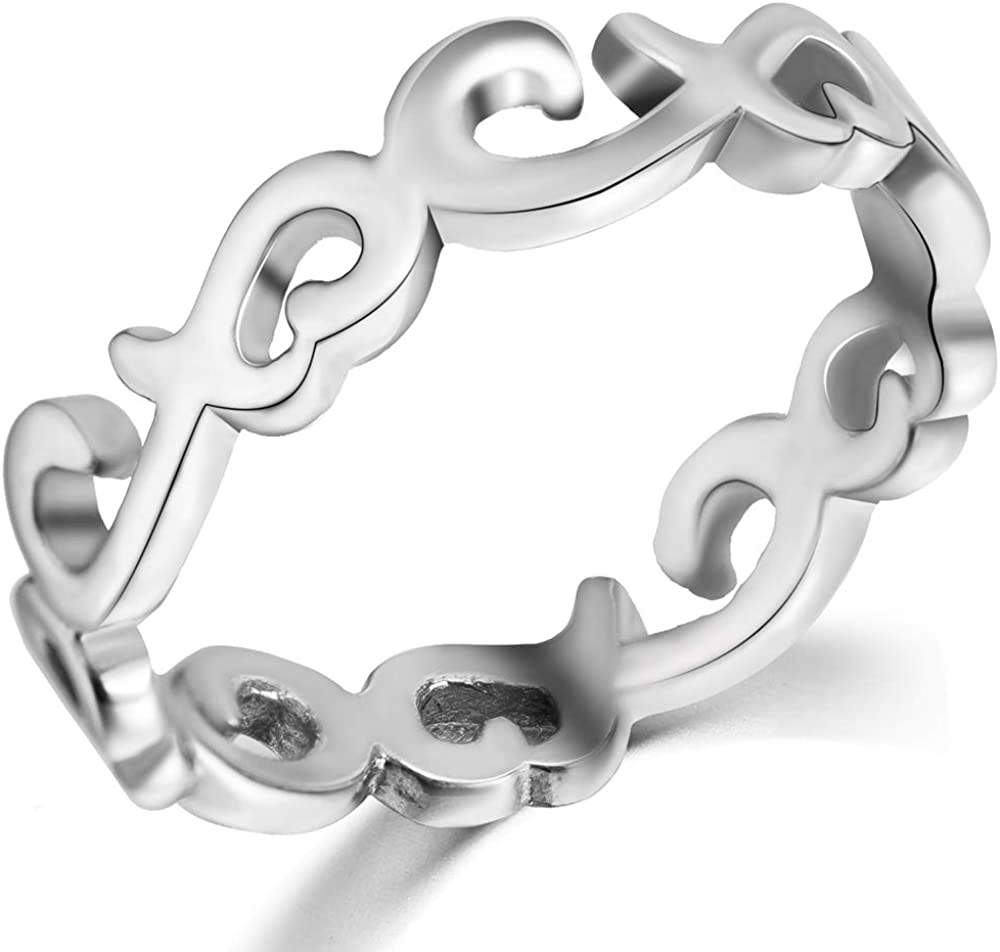 Jude Jewelers Stainless Steel Celtic Knot Heart Shaped Eternity Wedding Band Ring