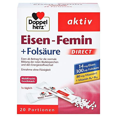 Ferro Femin Direct - Integratore con Vitamina C + B6 + B12 + Acido folico - 14 mg di Ferro per la formazione dei globuli rossi e il Metabolismo Energetico - 20 dosi in microgranuli