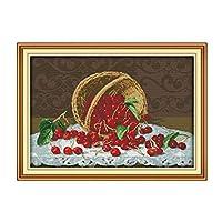 クロスステッチキット DIY 手作り刺繍キット マルチストランド綿糸ニットクロスステッチ刺繍キット- 静物フルーツ68x48cm(フレームレス)