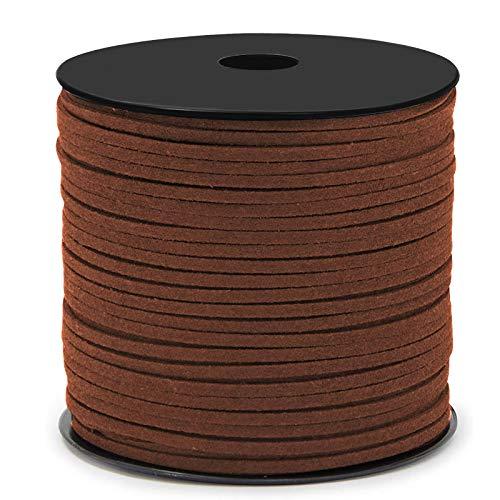 Cuerda de Cuero Gamuza Cordón de Ante para el Collar de la Pulsera Joyas de Abalorios de DIY Hacer Artesanía 3mm*90m (Marron Oscuro)