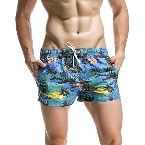 FIN86 Men's Casual Pants,Fashion Men's Printing Casual Loose Belt Drawstring Beach Pocket Shorts Pants L Cotton Dark Blue