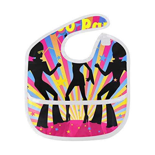 FANTAZIO Disco Party Patroon Baby Bib Waterdichte Baby Drooler Bib Wasbaar Pak voor 6-24 Maanden
