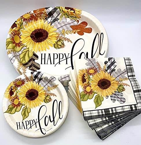 Thanksgiving Fall Disposable Dinnerware Set, 120 Pc. Bundle Includes Actual Service for 20: 20 Large Plates, 40 Dessert Plates, 60 Large Napkins