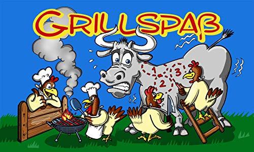 Fanshop Lünen Fahne - Flagge - Grillspaß - Hühner - Grill - Kuh - Huhn - Grillspass - 90x150 cm - Hissfahne mit Ösen -