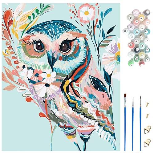 Kit de pintura por números, lienzo de 40 x 50 cm (sin marco), 3 pinceles y 24 colores de pintura, pintura al óleo de bricolaje, pintar por numeros adultos y niños, regalos, arte de pared en el hogar.