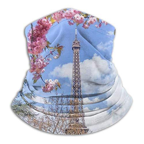 Scaldacollo con scaldacollo a torre Eiffel e fiori di ciliegio Scaldacollo antivento Scaldacollo UV per passamontagna per sport all'aperto Nero