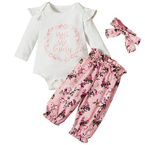 3Pcs Conjunto De Trajes Florales para Niñas Recién Nacidas Mamelucos Tops + Pantalones Monos Ropa Bebé Conjuntos Pantalones Onesies Mono Manga Larga para Bebés De 0-12 Meses con Diadema