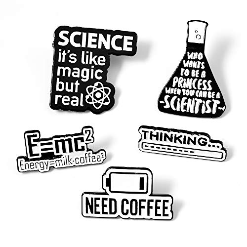 Gillna Science Enamel Pins Set Creative Lapel Pins Scientist Brooches Badge Pin for Backpack Bag Clothes Jacket Jewelry Gifts Black White Color