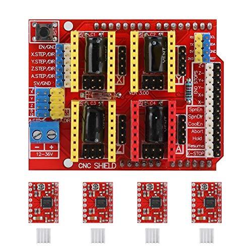Hyuduo1 CNC Abschirmplatte, Witbot CNC Abschirmungs Erweiterungskarte + 4 drv8825 Schrittmotortreiber + 4 Mini Kühler, CNC Abschirmungs Erweiterungskarte für Arduino V3 Gravur