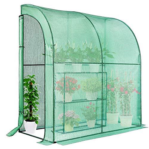 VIVOSUN Mini Lean-to Greenhouse, 39.3x78.7x82.6-Inches Portable Wall Greenhouse with PE Cover and Shelf for Compact Garden