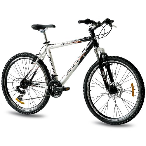 KCP 26' Mountain Bike Evolution Alloy Men with 18 Speed Shimano White Black - (26 Inch)
