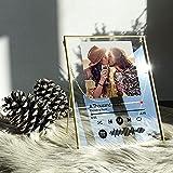 VEELU Marco de Fotos Acrílico Personalizado con Foto y Código Spotify Escaneable, Portafotos Personalizable con Marco Metal Dorado, Regalo Original para Novio Novia