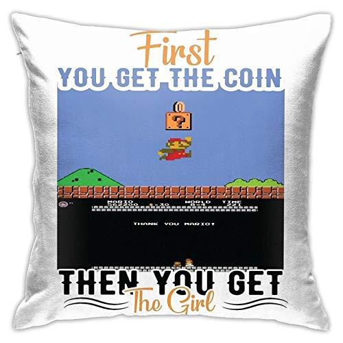 Opahxa5 Mario - First Coin, Then Girl Throw Pillow Covers Both Sides Cotton Pillow Case Decor Home Sofa Square Cushion Cover 18x18 in