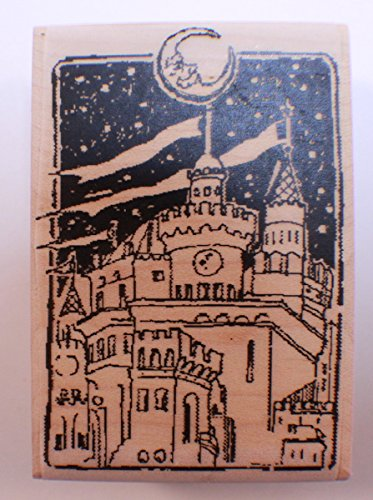 Stampington And Co Wooden Rubber Stamp City Lights Man in the Moon