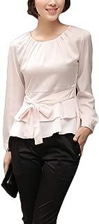 Thx Style Women's Casual Long Sleeve Tops Pleated Slim Round Neck Peplum Blouse