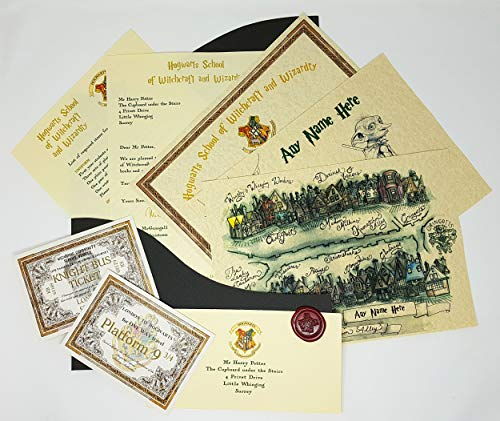 Planets For Sale Personalised Hogwarts Style Mega Pack, Acceptance Letter, Real Wax Seal, Dobby Poster, O.W.L. Diploma, Diagon Alley Map and More