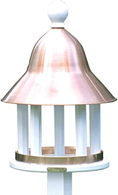 Lazy Hill Farm Designs 42513 Bell Feeder White Solid Cellular Vinyl with Spun Polished Copper Roof, 17-Inch by 23 7/2-Inch