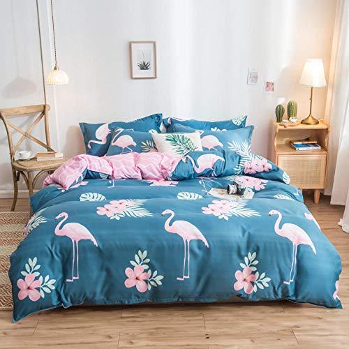Goodlife-1 Comfort Lujoso Juego de sábanas Ropa de Cama de algodón de Cuatro Piezas y Funda nórdica Funda y Fundas de Almohada Ropa de Cama-Azul Oscuro_Cama de 220cm
