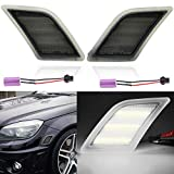 Smoke Lens White LED Front Side Marker Light Kits for 2008-2011 Mercedes Benz Pre-LCI W204 C250 C300 C350 & 2008-2013 C63 AMG & 2005-2007 SL66 AMG OEM Amber Side Marker Lamps Replacement