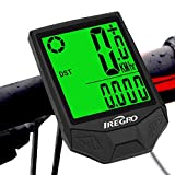 IREGRO Cuentakilometros Inalámbrico para Bicicleta Velocimetroautomático Despertador 18 Funciones LCD Pantalla Impermeable Wireless Bicicleta velocímetro, odómetro de Bicicleta