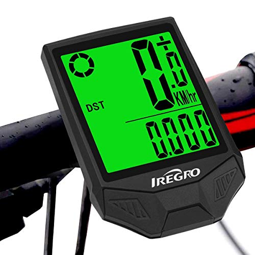 IREGRO Bike Computer Waterproof Wireless Bicycle Odometer Speedometer,one button Wake-up 18 Functions LCD Backlight Bike Odometer for Outdoor Cycling Realtime Speed Tracking