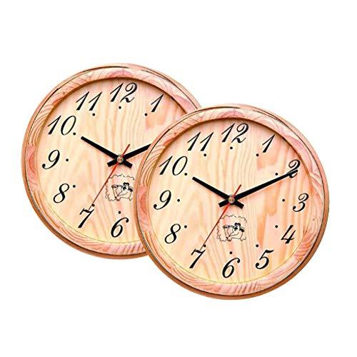 PETSOLA Reloj de Pared Decorativo para Sauna de 20 Cm para Sala de Sauna, Dormitorio, Sala de Estar, Diseño Simple de Números árabes Grandes, Accesorio de SAU