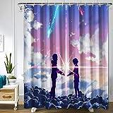 Your Name Duschvorhang für Badezimmer Dekor, maschinenwaschbar, wasserdicht, Anime-Stoff, Duschvorhang-Set mit Haken, 182,9 x 182,9 cm
