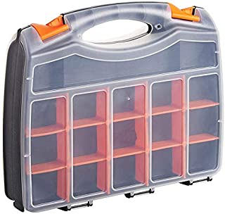 """15"""" 2 Sides Storage Organiser Bits Screws Nails Tool Carry Case 32 Compartments with Dividers for DIY/Tools/Fishing"""