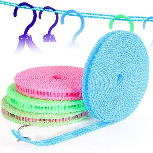 BETOY Wäscheleine, 5 Stück Tragbar Winddichte Wäscheleine Kleiderlinie 5m Trocknen Wäscheleine Kleider Seil für Outdoor/Indoor/Home/Reisen (zufällige Farbe)