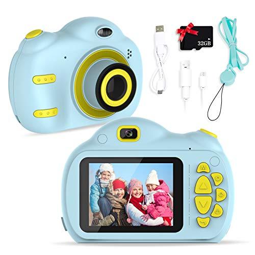 SWEET CARROT Cámara de fotos digital para niños con pantalla de 2,4 pulgadas, píxeles Mega HD, lente delantera y trasera, flash, tarjeta SD de 32 G integrada, color azul