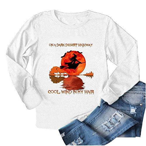 Andouy Halloween Modisch Drucken Pullover Freizeit Lose Leicht Lange Ärmel Rundhals Sweatshirts(L.Weiß)