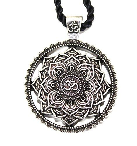 Collar con colgante de flor mandala/geometría sagrada / loto OM budista zen yoga amuleto / regalo original unisex mujer hombre