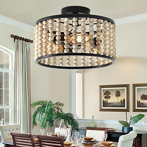 Farmhouse Boho Light Fixture, 3-Light Wood Beaded Chandelier, Black Semi-Flush Mount Ceiling Light for Dining Room, Kitchen, Hallway, Bedroom, Living Room