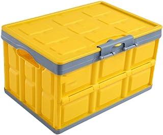 N / A Caisse Pliable avec Couvercle - 30 litres Boîte de Rangement en Plastique Multifonctionnel - Boîte de Panier Empilab...