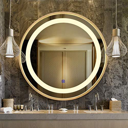 Miroir Lumineux LED Tenture Murale WC en Verre Miroir Rond Bordure en Bois