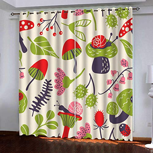 QHDXL Bedroom Curtains Green Snail Blackout Eyelet Curtains Insulated Thermal Curtains, for Bedroom Living Room Windows Black Out Curtain 29.5 x 65.4 Inch 2 Panels